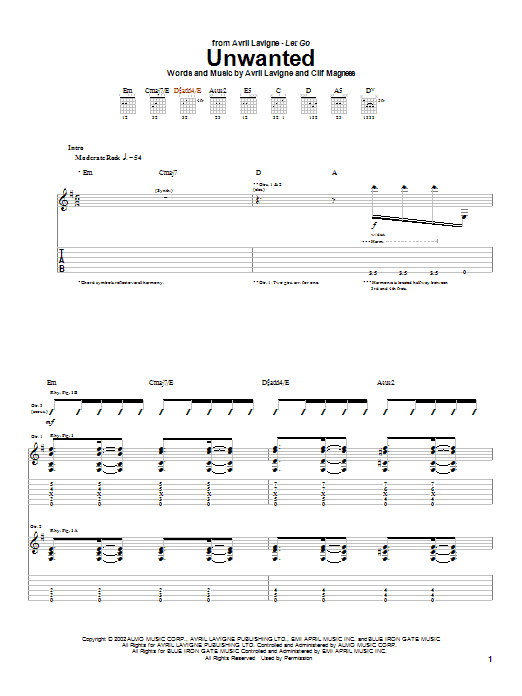 Tablature guitare Unwanted de Avril Lavigne - Tablature Guitare