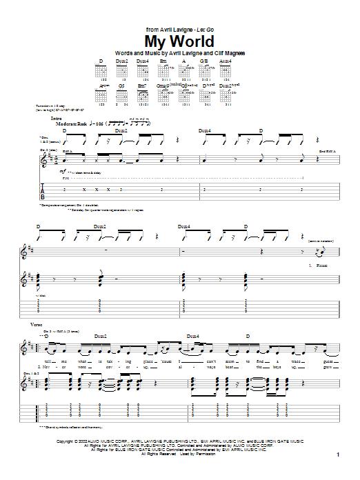 Tablature guitare My World de Avril Lavigne - Tablature Guitare