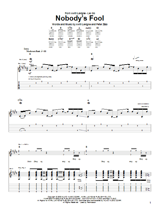 Nobody's Fool sheet music for guitar solo (tablature) by Peter Zizzo