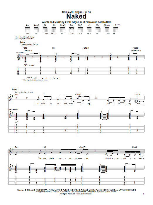 Tablature guitare Naked de Avril Lavigne - Tablature Guitare