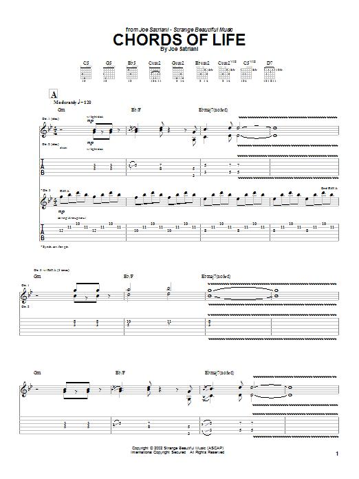 Tablature guitare Chords Of Life de Joe Satriani - Tablature Guitare