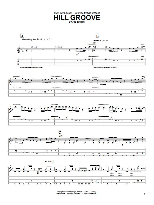 Tablature guitare Hill Groove de Joe Satriani - Tablature Guitare
