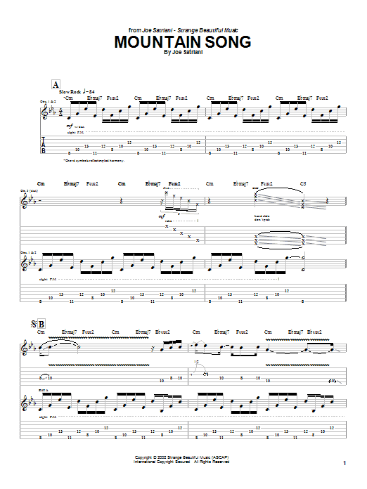 Tablature guitare Mountain Song de Joe Satriani - Tablature Guitare