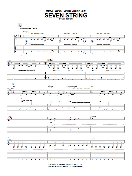 Tablature guitare Seven String de Joe Satriani - Tablature Guitare