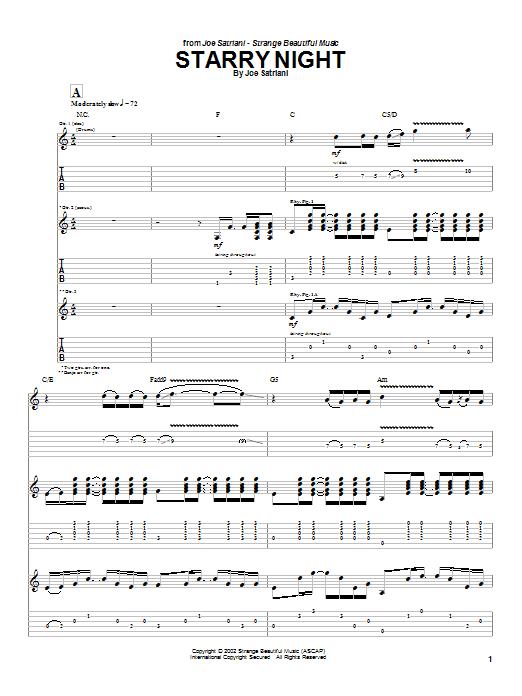 Tablature guitare Starry Night de Joe Satriani - Tablature Guitare