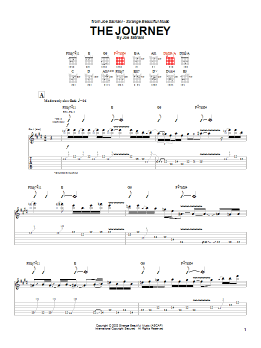 Tablature guitare The Journey de Joe Satriani - Tablature Guitare