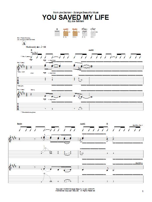 Tablature guitare You Saved My Life de Joe Satriani - Tablature Guitare