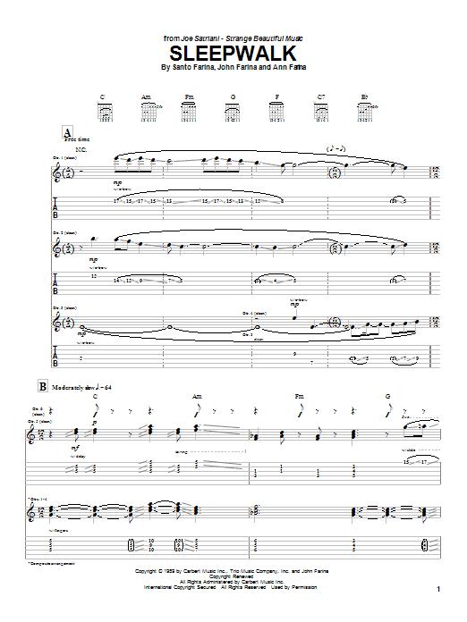 Tablature guitare Sleepwalk de Joe Satriani - Tablature Guitare