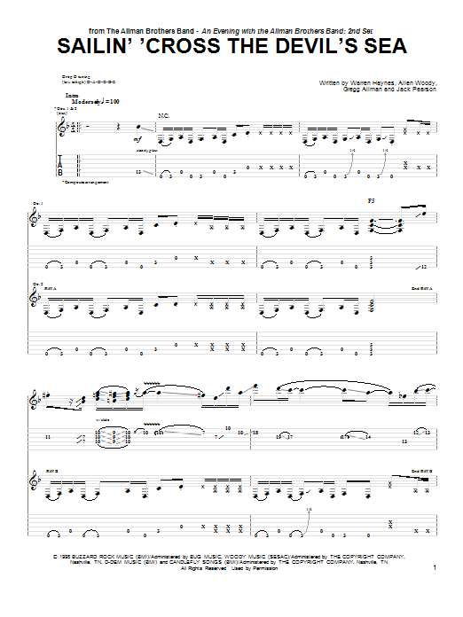 Sailin' 'Cross The Devil's Sea sheet music for guitar solo (tablature) by Warren Haynes