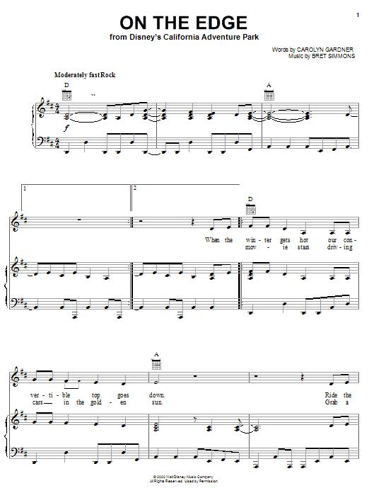 Partition piano On The Edge (from Disney's California Adventure Park) de Carolyn Dawn Gardner - Piano Voix Guitare (Mélodie Main Droite)