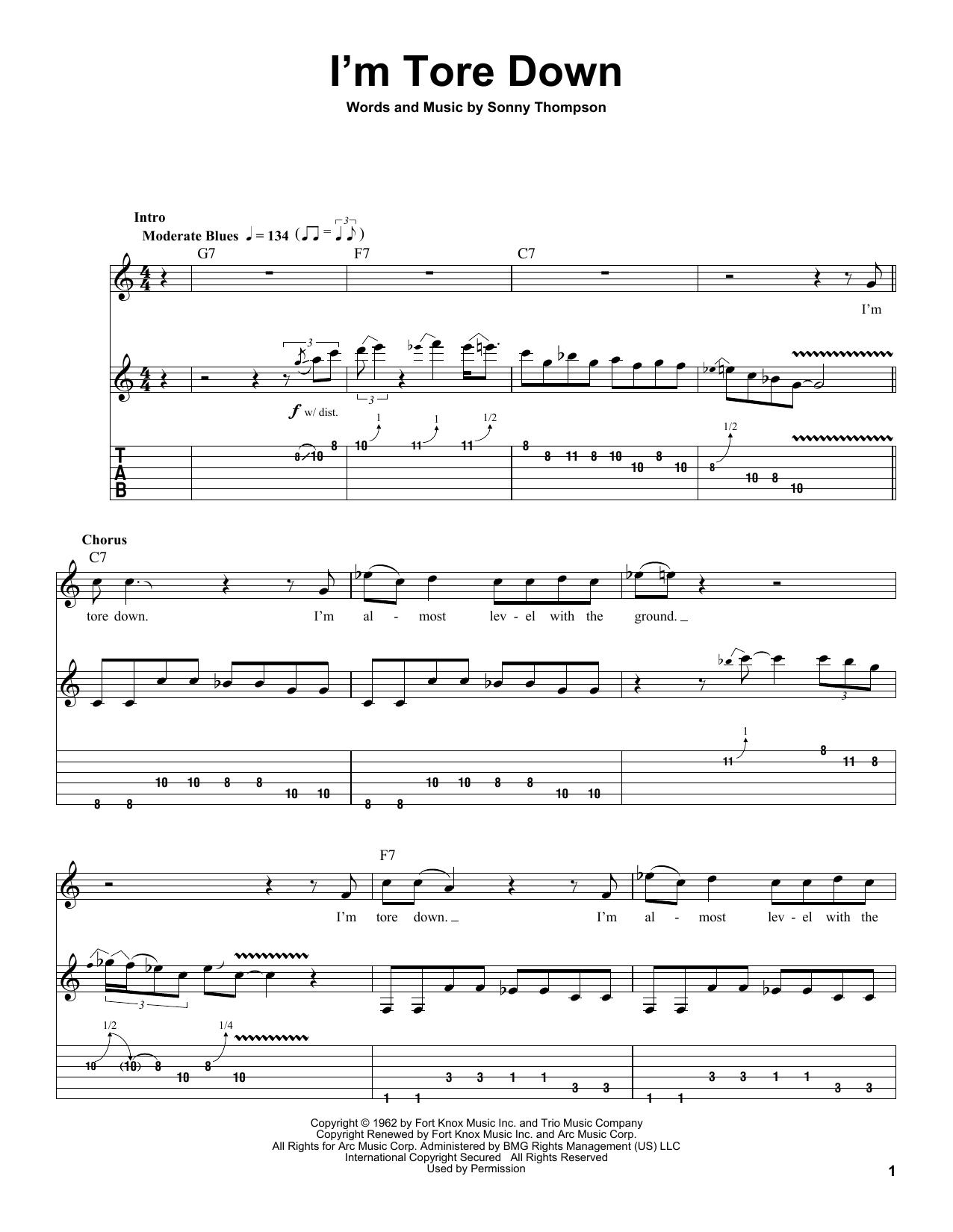 Tablature guitare I'm Tore Down de Eric Clapton - Tablature Guitare