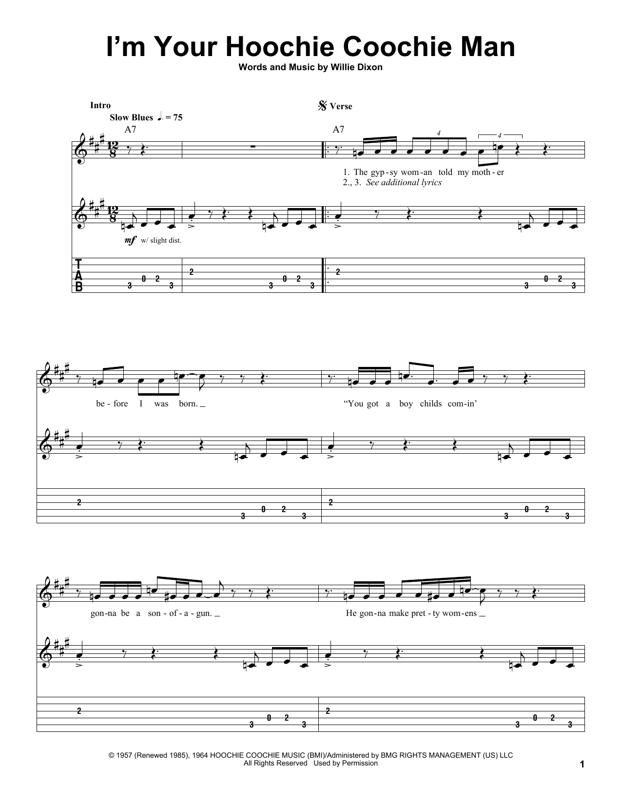 Tablature guitare I'm Your Hoochie Coochie Man de Willie Dixon - Tablature Guitare