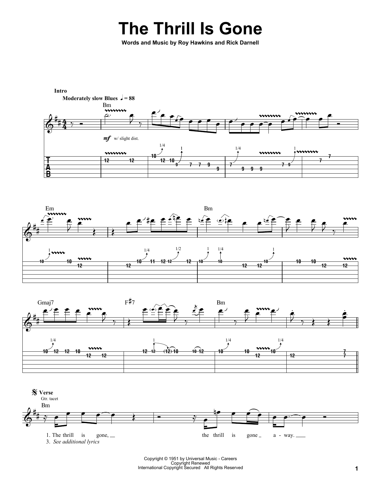 Tablature guitare The Thrill Is Gone de B.B. King - Tablature Guitare
