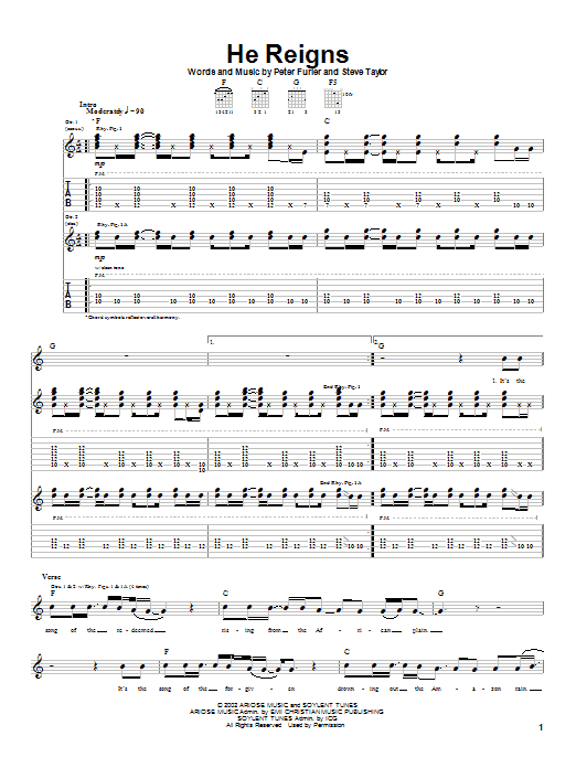 Tablature guitare He Reigns de Newsboys - Tablature Guitare