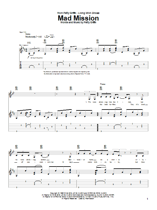 Tablature guitare Mad Mission de Patty Griffin - Tablature Guitare