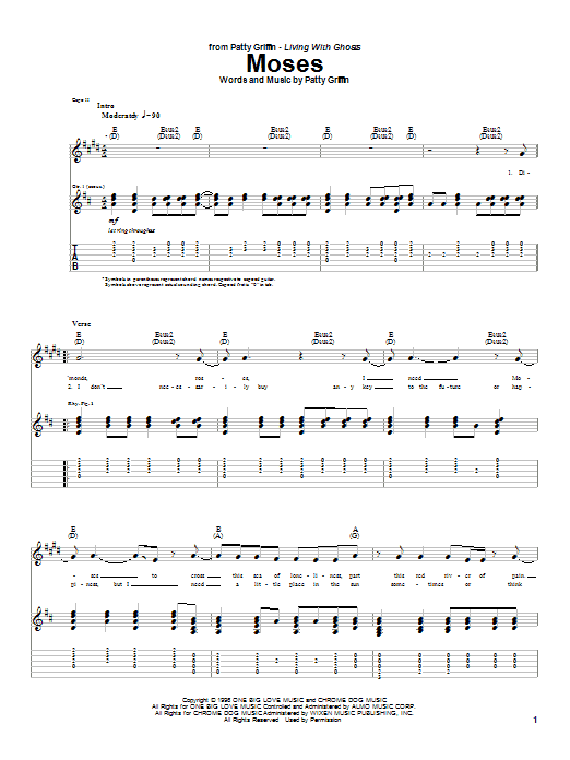 Tablature guitare Moses de Patty Griffin - Tablature Guitare