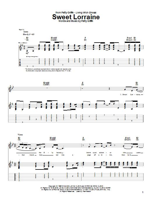 Tablature guitare Sweet Lorraine de Patty Griffin - Tablature Guitare