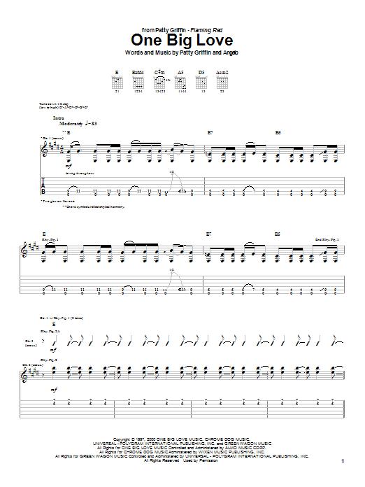 Tablature guitare One Big Love de Patty Griffin - Tablature Guitare