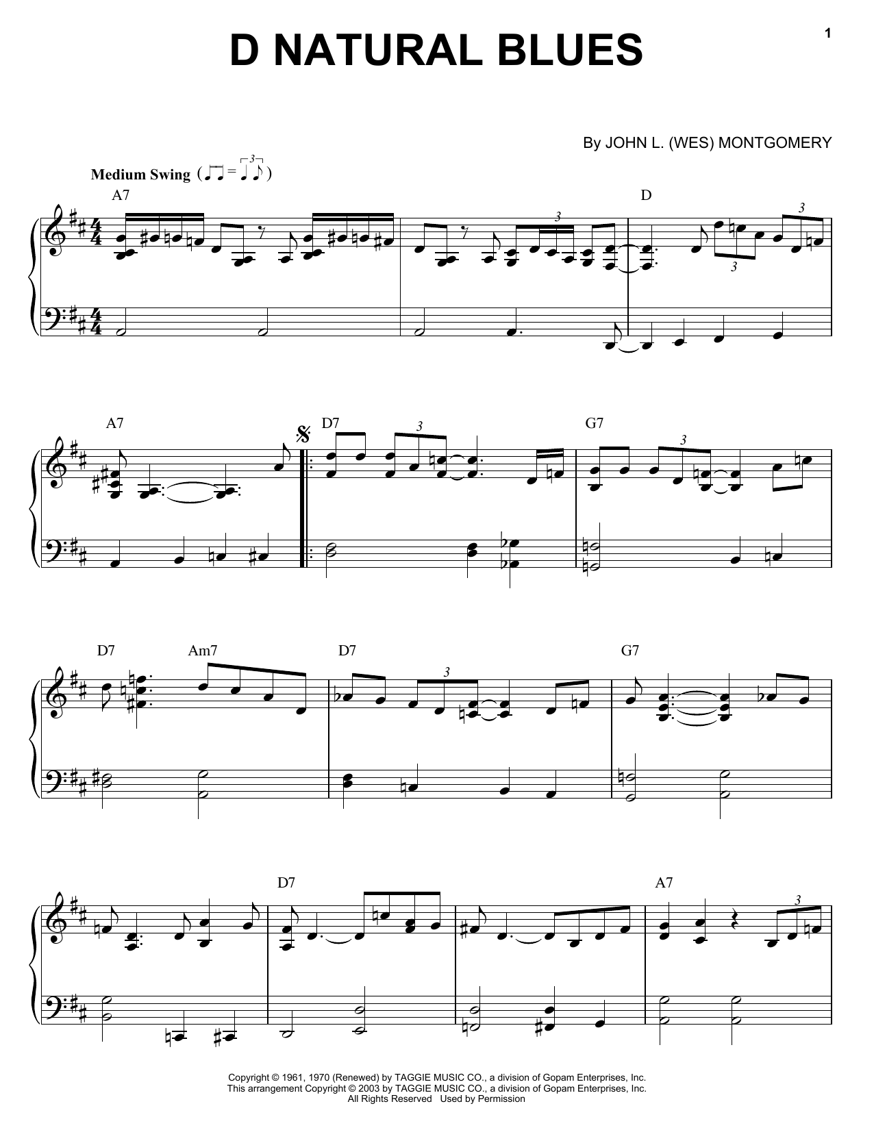 D Natural Blues sheet music for piano solo by Wes Montgomery