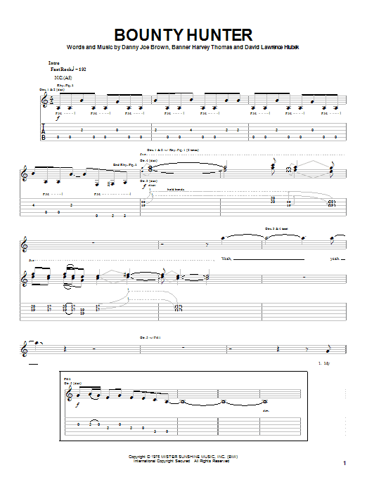 Tablature guitare Bounty Hunter de Molly Hatchet - Tablature Guitare