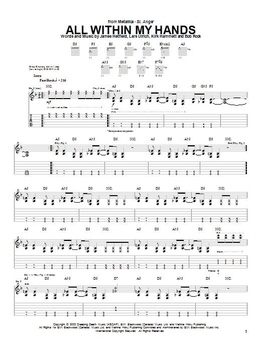 Tablature guitare All Within My Hands de Metallica - Tablature Guitare