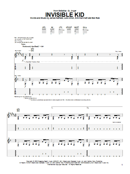 Tablature guitare Invisible Kid de Metallica - Tablature Guitare