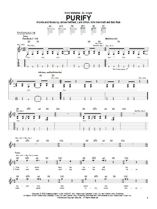 Tablature guitare Purify de Metallica - Tablature Guitare