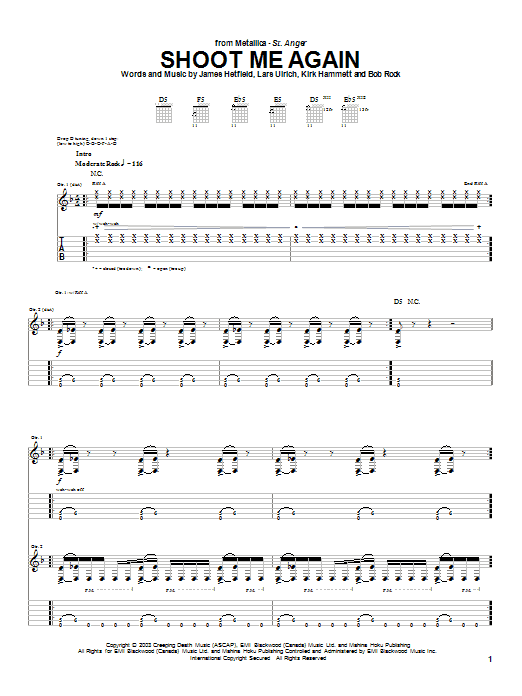 Tablature guitare Shoot Me Again de Metallica - Tablature Guitare