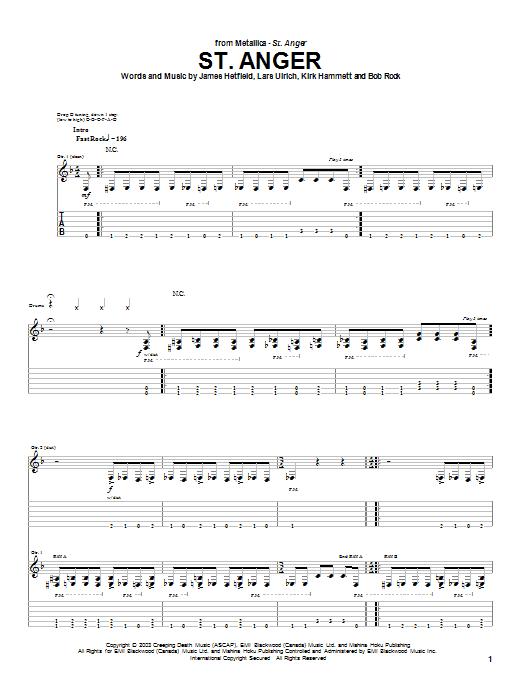 Tablature guitare St. Anger de Metallica - Tablature Guitare