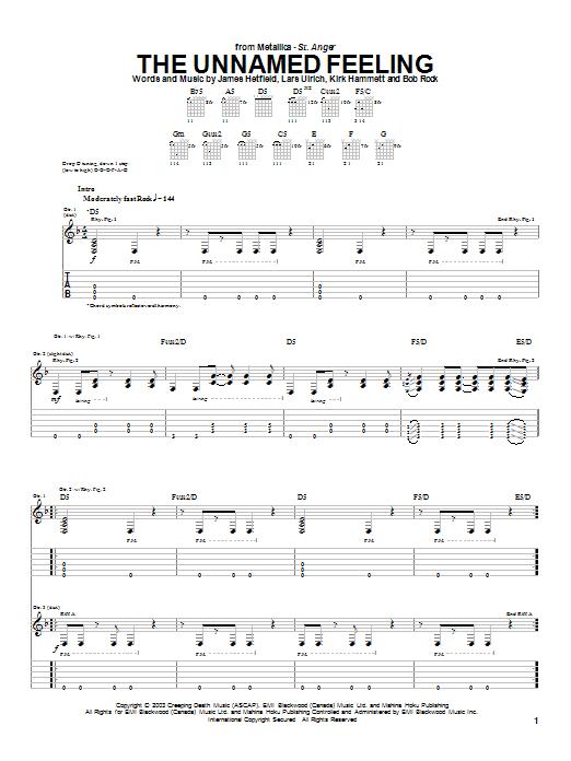 Tablature guitare The Unnamed Feeling de Metallica - Tablature Guitare