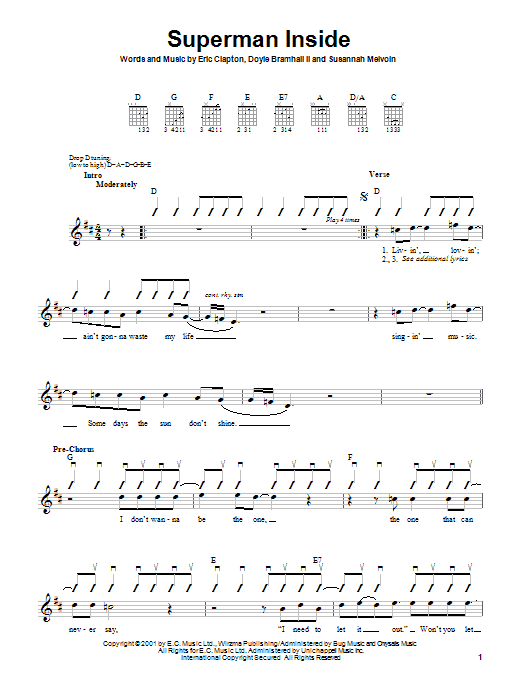 Tablature guitare Superman Inside de Eric Clapton - Autre