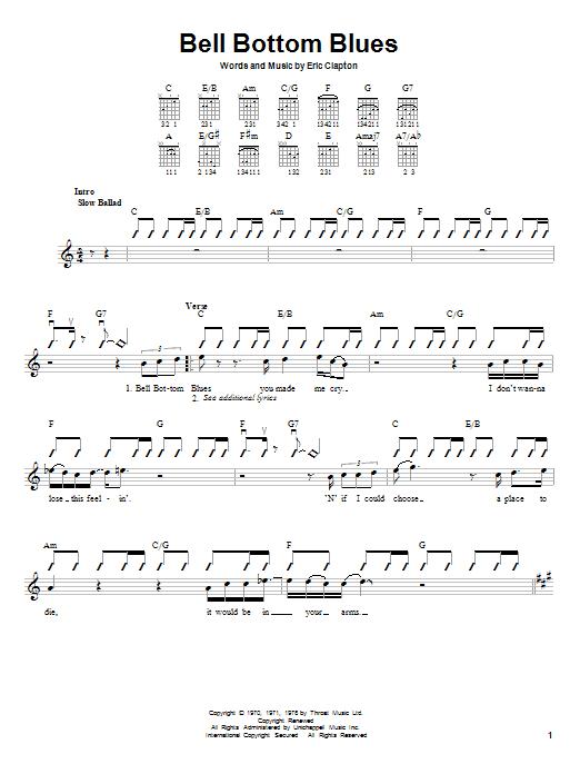 Tablature guitare Bell Bottom Blues de Derek And The Dominos - Autre