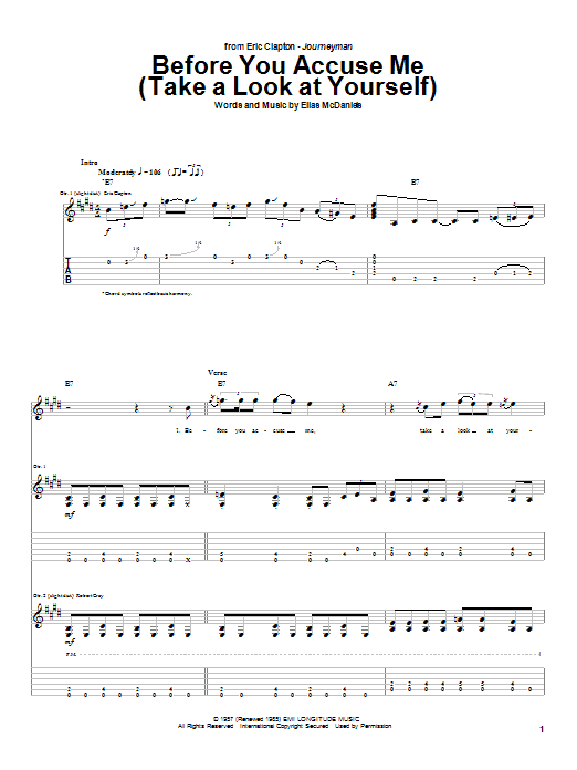Tablature guitare Before You Accuse Me (Take A Look At Yourself) de Eric Clapton - Tablature Guitare