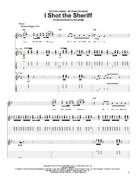 Tablature guitare I Shot The Sheriff de Bob Marley - Tablature Guitare