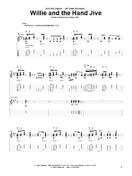 Willie And The Hand Jive sheet music for guitar solo (tablature) by Eric Clapton