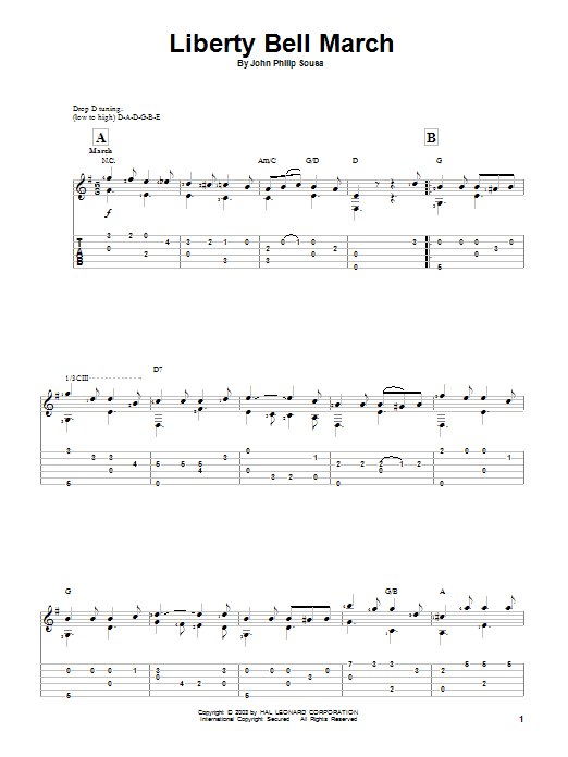 Tablature guitare Liberty Bell March de John Philip Sousa - Tablature Guitare