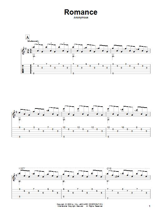 Tablature guitare Romance de Anonymous - Tablature Guitare