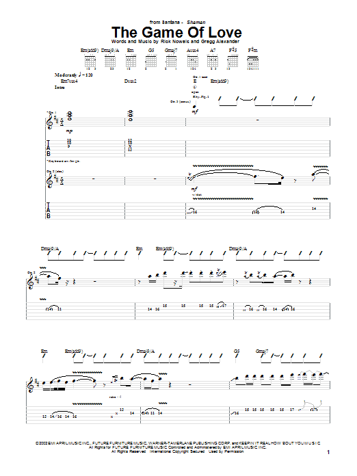 The Game Of Love sheet music for guitar solo (tablature) by Rick Nowels