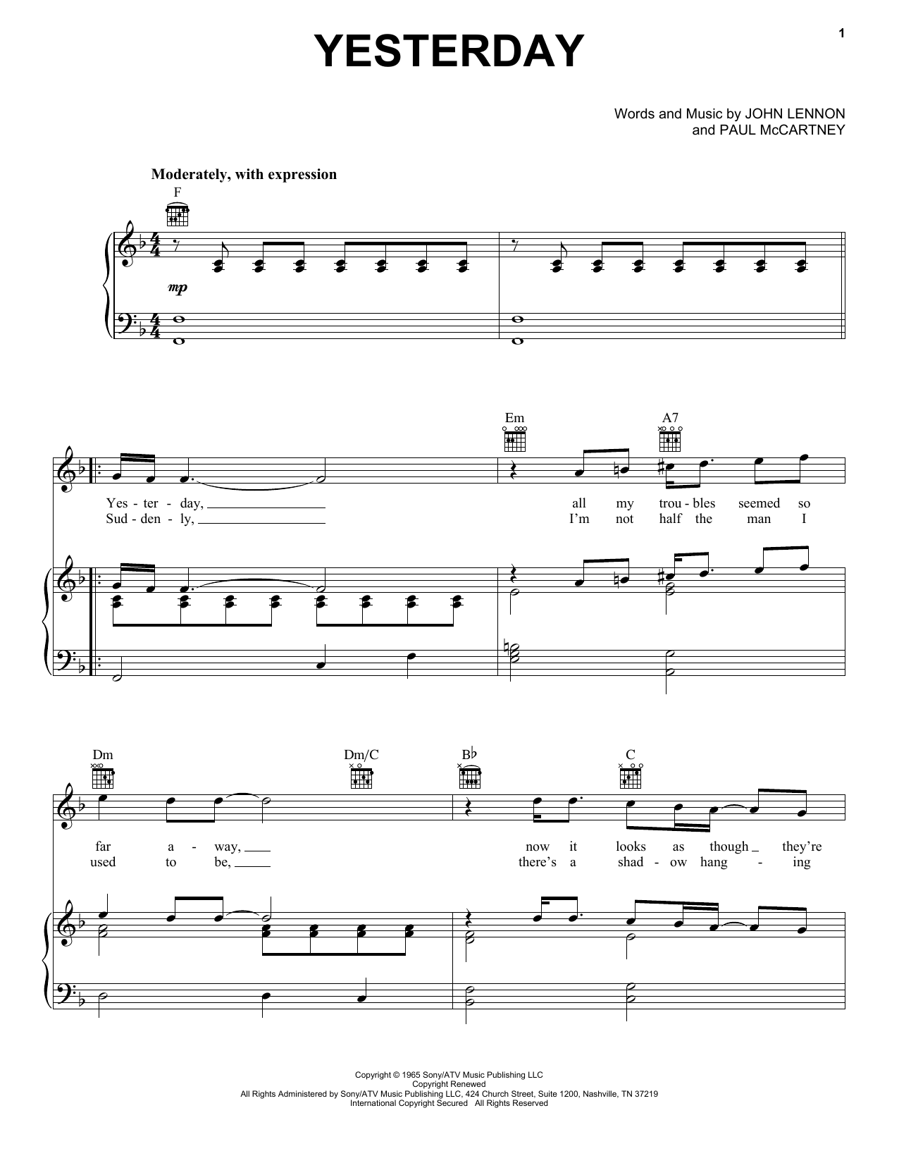 Yesterday sheet music for voice, piano or guitar by Paul McCartney