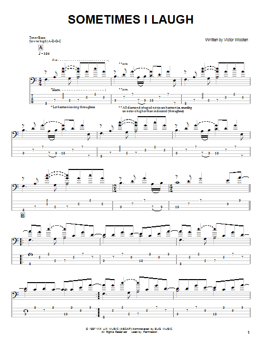 Tablature guitare Sometimes I Laugh de Victor Wooten - Tablature Basse