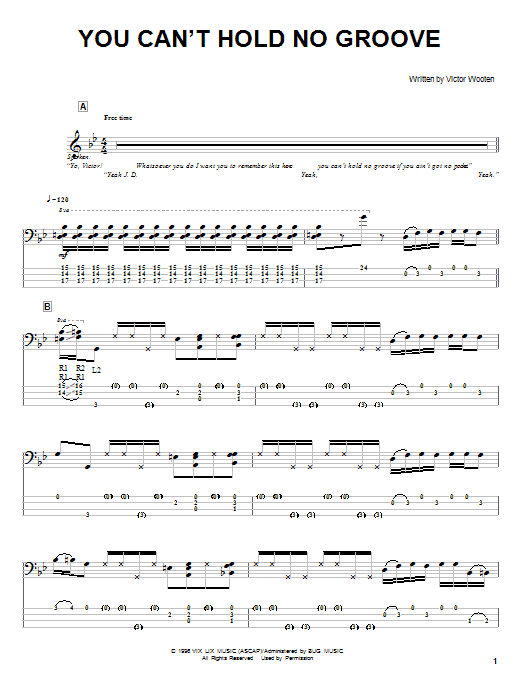 Tablature guitare You Can't Hold No Groove de Victor Wooten - Tablature Basse