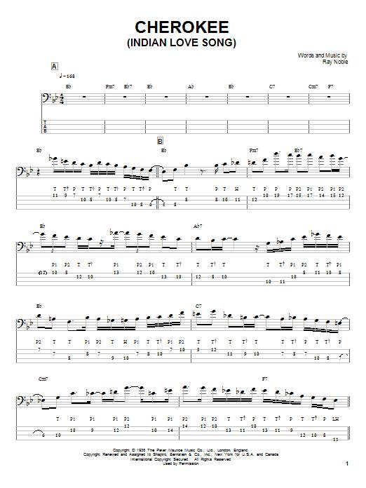 Tablature guitare Cherokee (Indian Love Song) de Victor Wooten - Tablature Basse