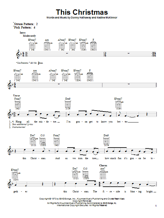 Tablature guitare This Christmas de Donny Hathaway - Tablature Guitare