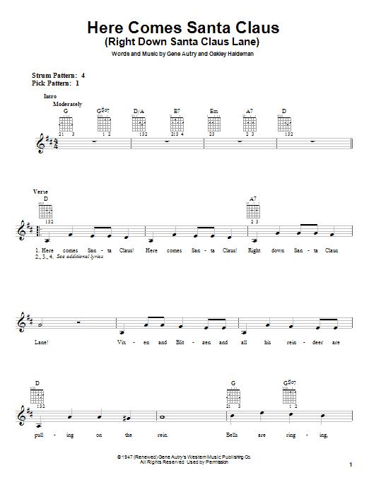 Tablature guitare Here Comes Santa Claus (Right Down Santa Claus Lane) de Carpenters - Tablature guitare facile