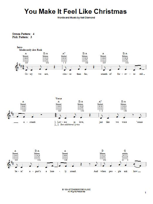 Tablature guitare You Make It Feel Like Christmas de Neil Diamond - Tablature guitare facile