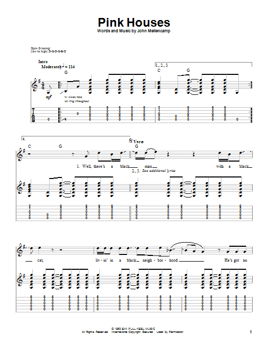 Tablature guitare Pink Houses de John Cougar Mellencamp - Tablature Guitare