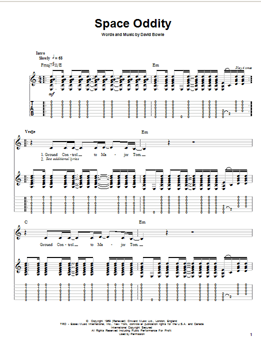 Tablature guitare Space Oddity de David Bowie - Tablature Guitare
