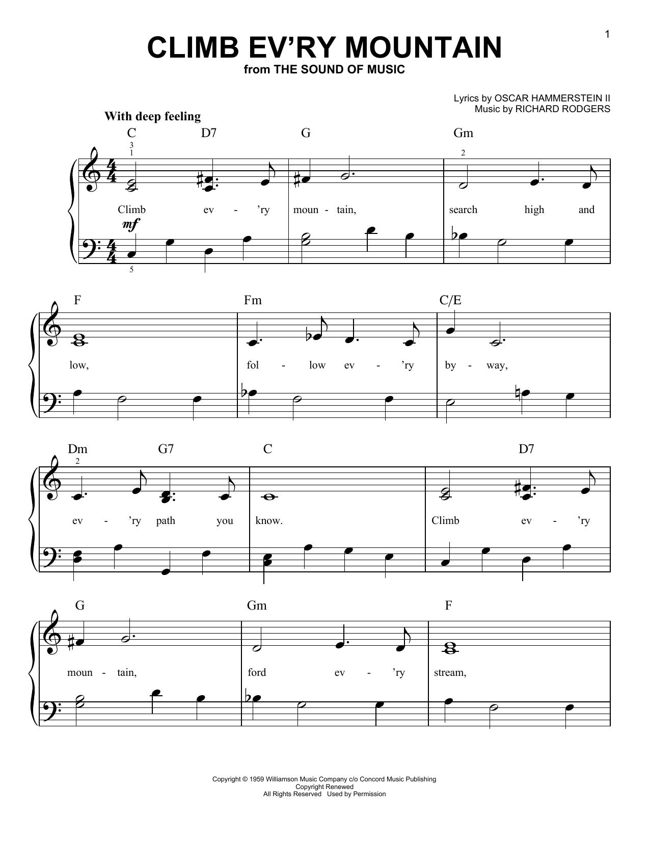 Partition piano Climb Ev'ry Mountain de Rodgers & Hammerstein - Piano Facile