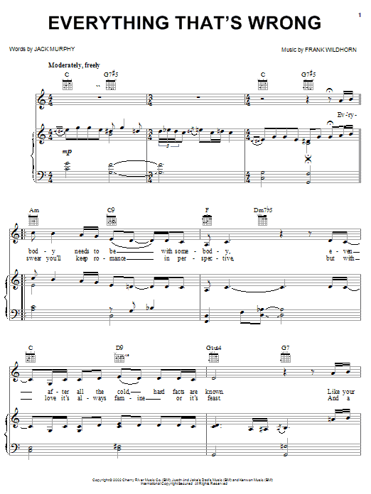 Everything That's Wrong sheet music for voice, piano or guitar by Jack Murphy