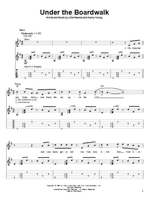 Tablature guitare Under The Boardwalk de The Drifters - Tablature Guitare